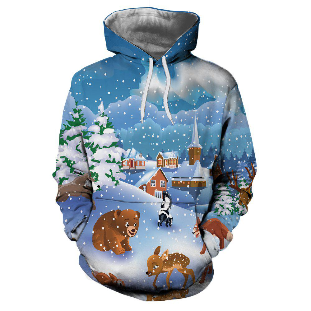 Discount Christmas Snow Cartoon Print Men's Hoodie Sweater