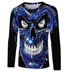 Men's New Blu-ray Personality Trend 3D Print Long Sleeve T-shirt -