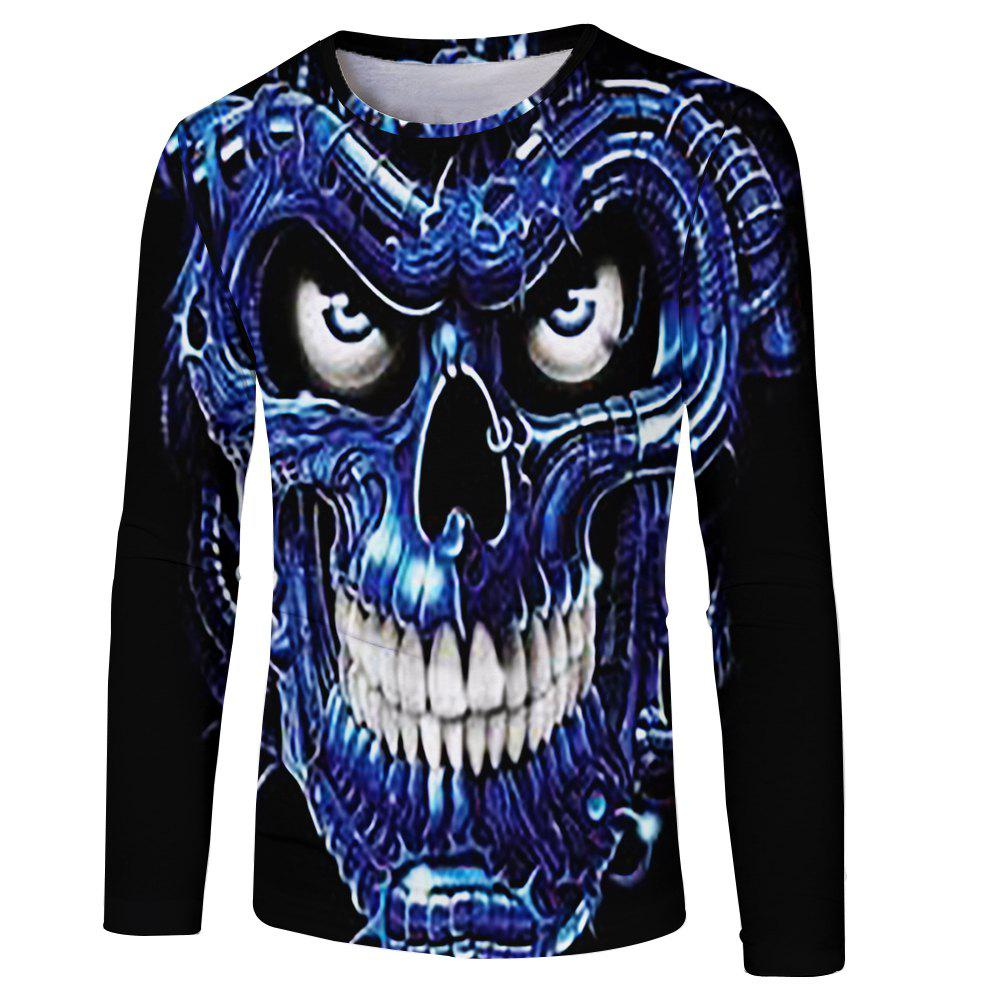 Unique Men's New Blu-ray Personality Trend 3D Print Long Sleeve T-shirt