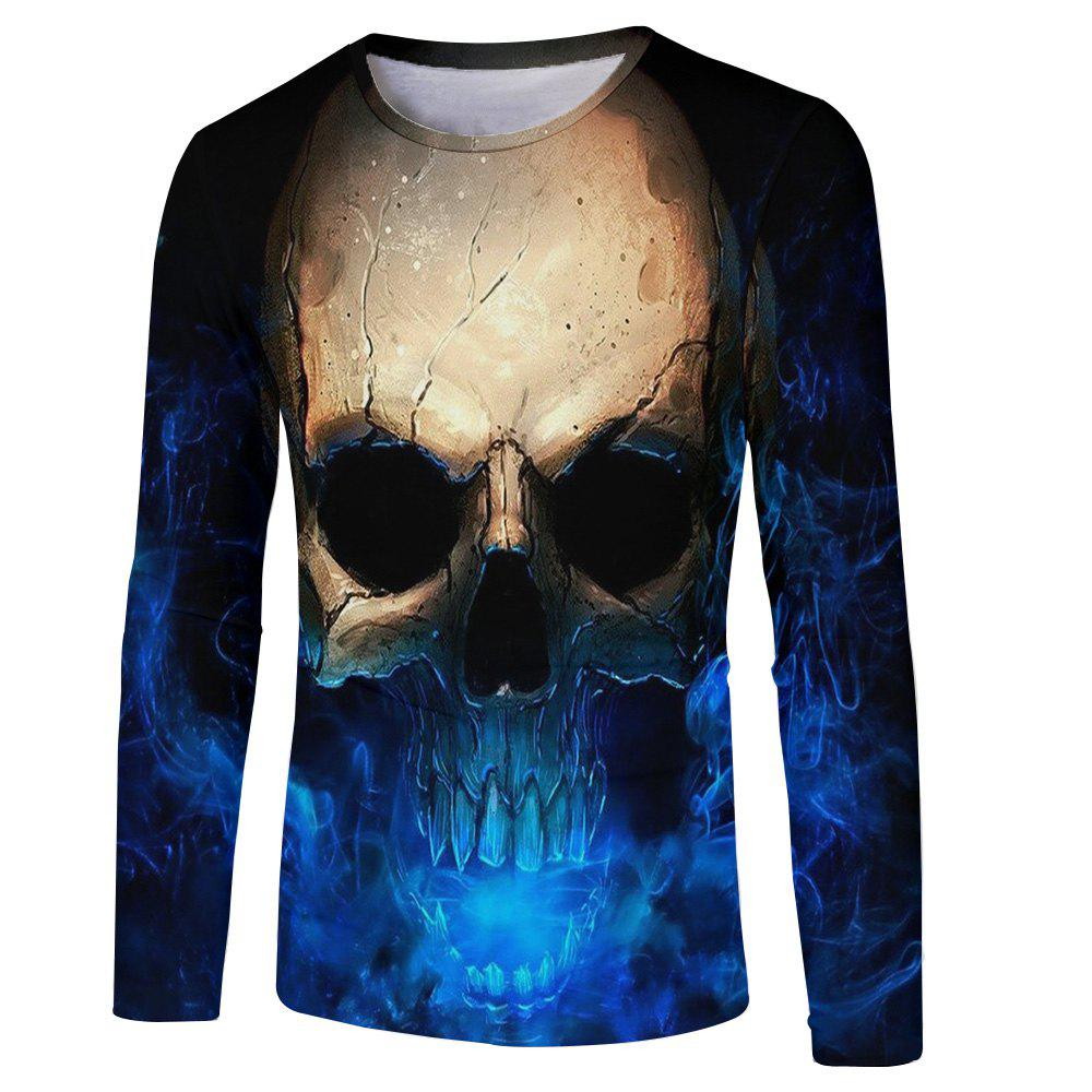 Online Men's New Blu-ray Personality Trend 3D Print Long Sleeve T-shirt