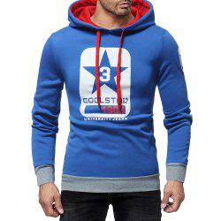 Men's Fashion Letter Print Contrast Hooded Long Sleeve Casual Turtleneck Sweater -