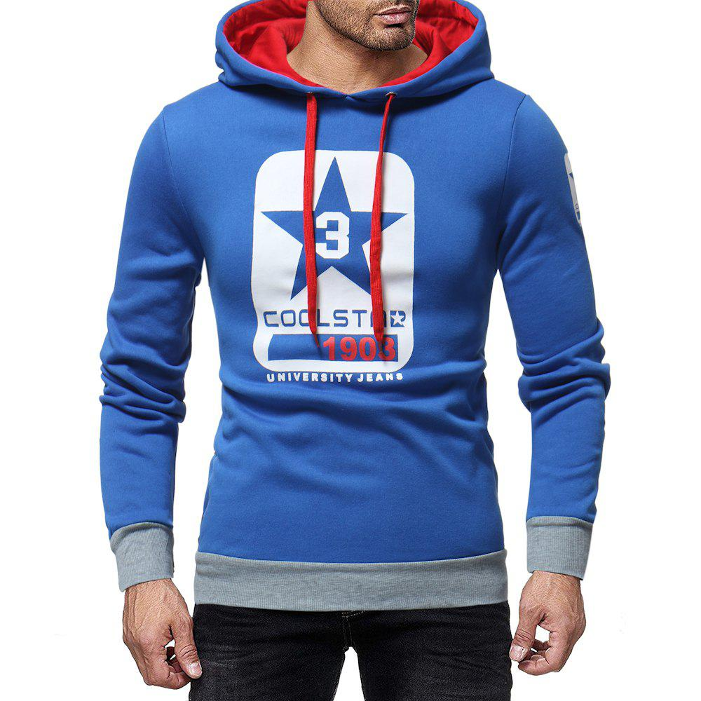 Online Men's Fashion Letter Print Contrast Hooded Long Sleeve Casual Turtleneck Sweater