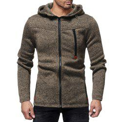 Men's Fashion Multi-zip Solid Color Long-sleeved Hooded Casual Sweater -