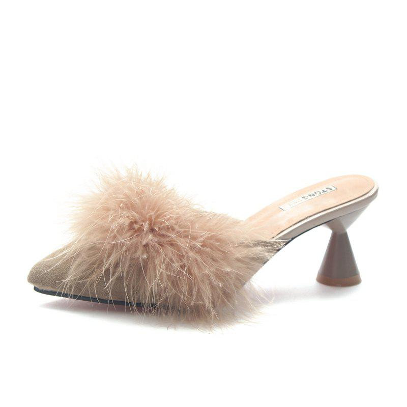Store Fashion Pointed Hair High Heels and Semi Slippers