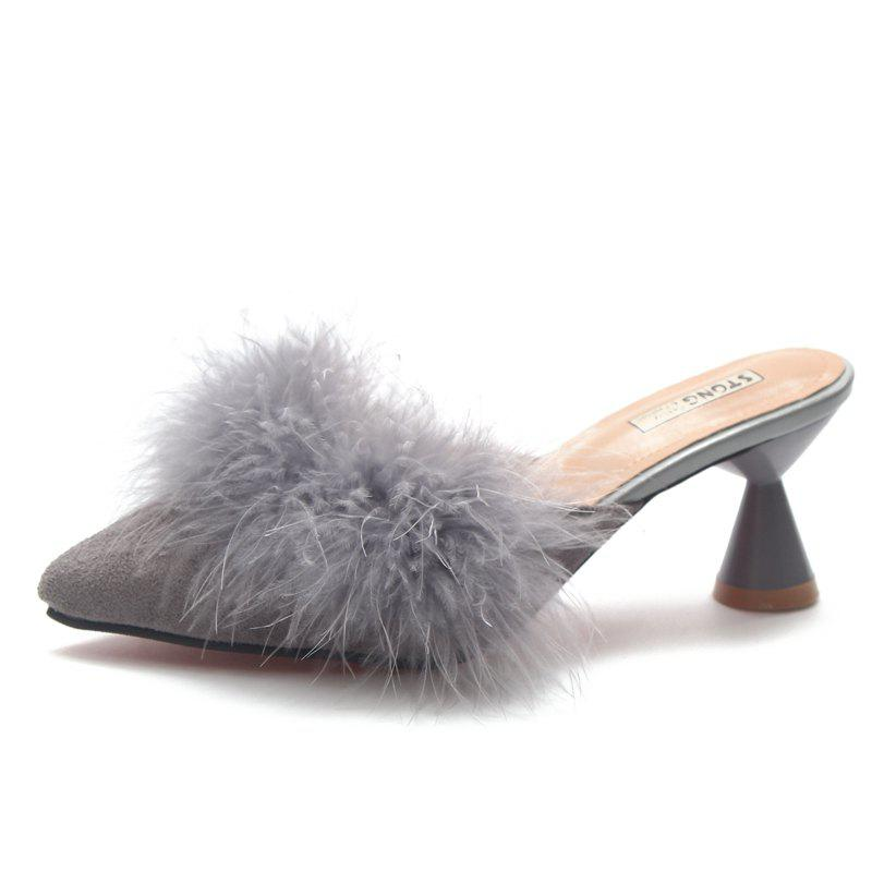 Sale Fashion Pointed Hair High Heels and Semi Slippers