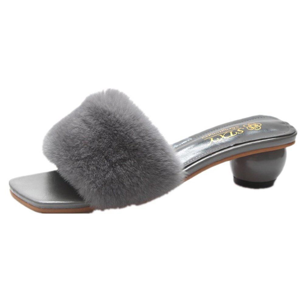 Cheap Fashion Round Hair Slippers