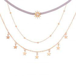 Simple Five Pointed Star With Three Layers of Necklace Sunflower -