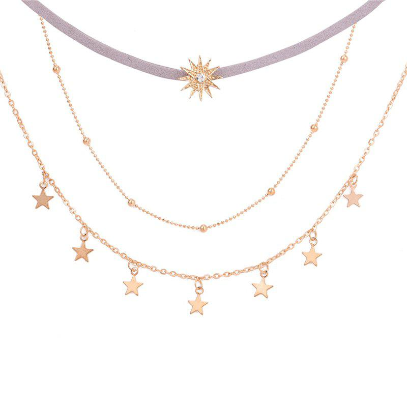 New Simple Five Pointed Star With Three Layers of Necklace Sunflower