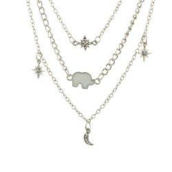 Fashion Multi-Layered Six Star Shaped Necklace -