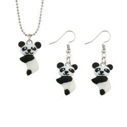Pendant Panda Necklace Earrings Set -