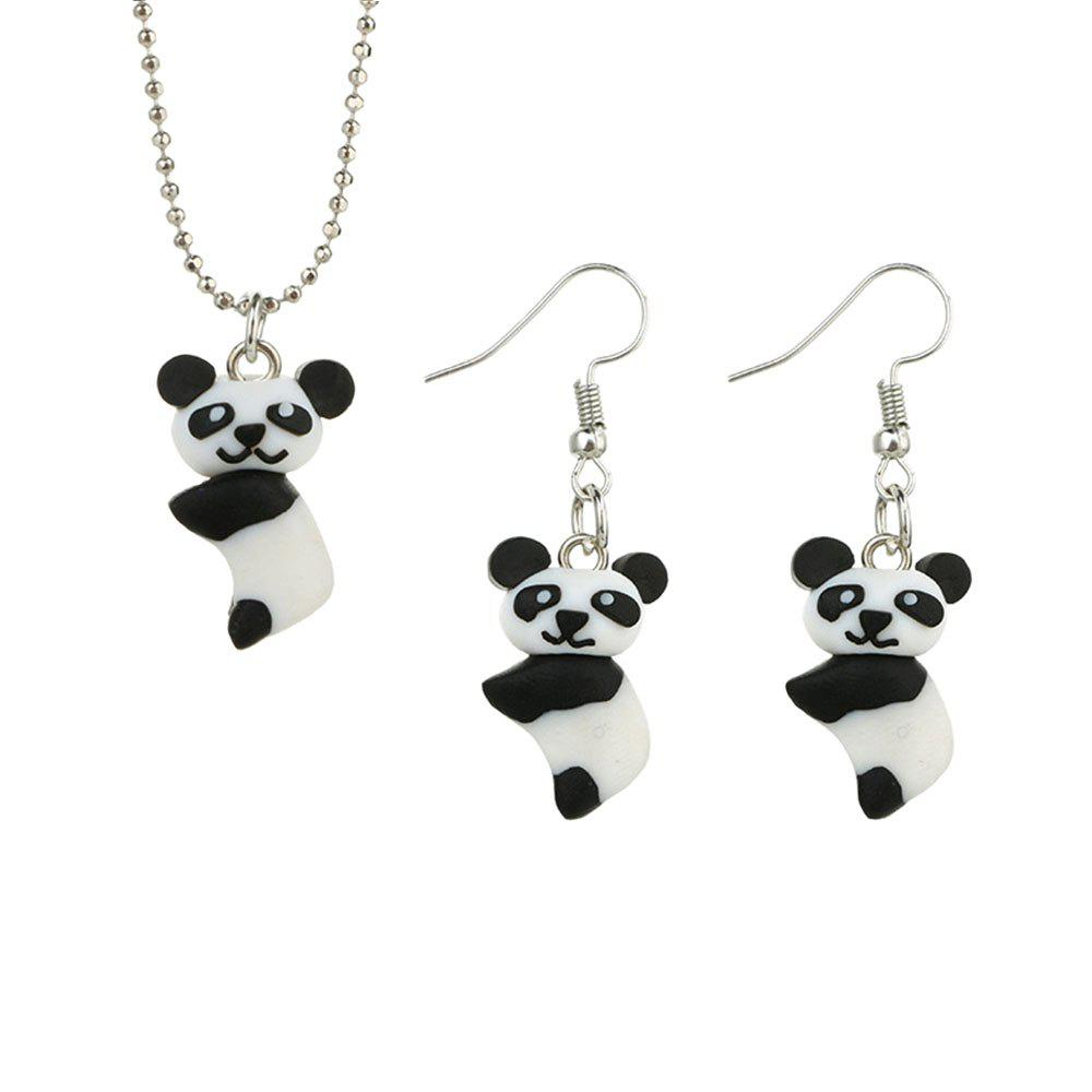 Affordable Pendant Panda Necklace Earrings Set