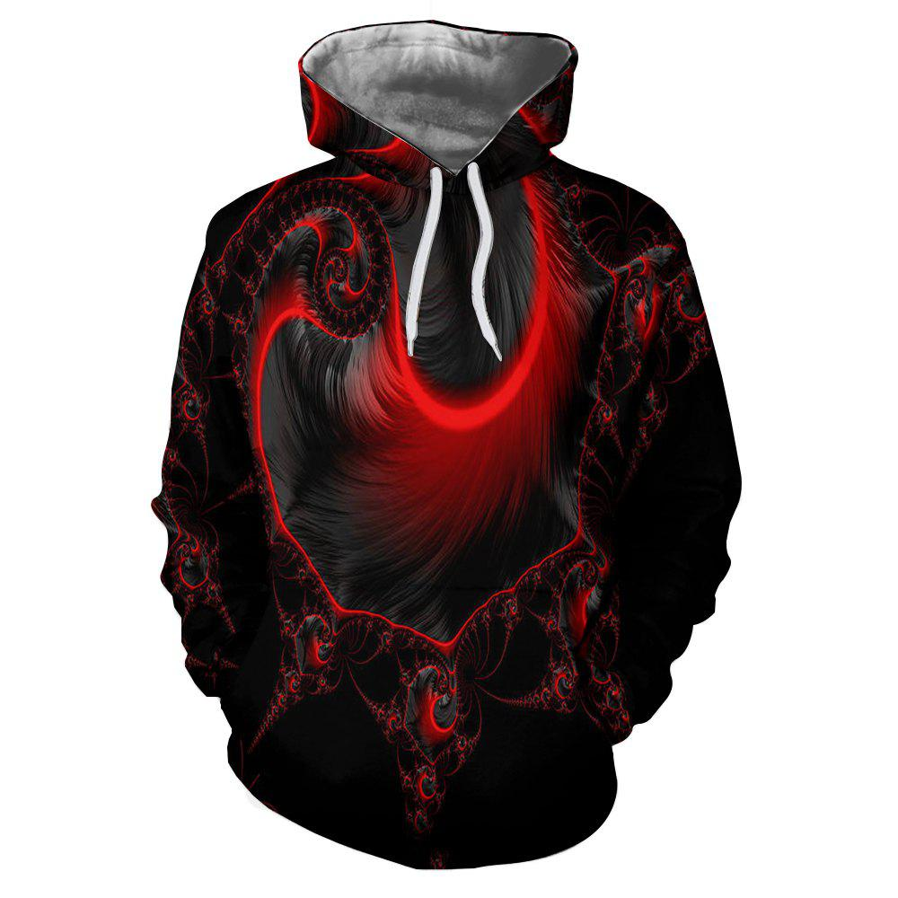 Latest Light Effect Feather Print Men's Hoodie Sweater