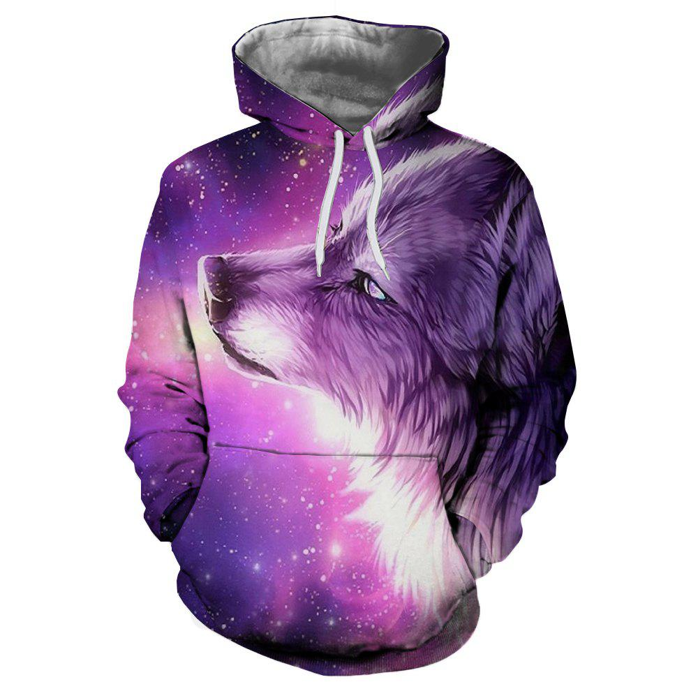 Sale 3D Winter Sports Fashion Wolf Print Mens Hoodie