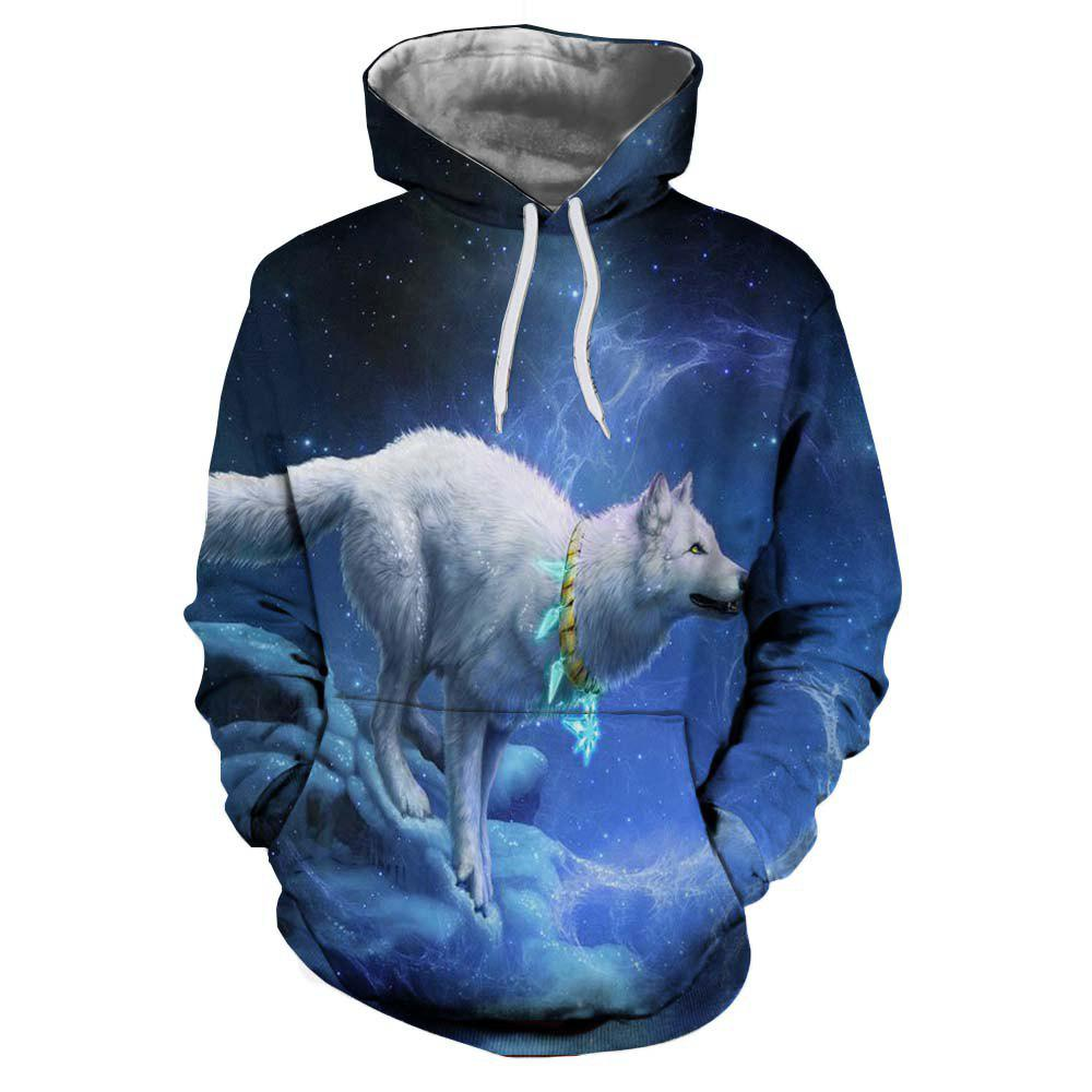 Affordable 3D Winter Sports Fashion Wolf Print Mens Hoodie