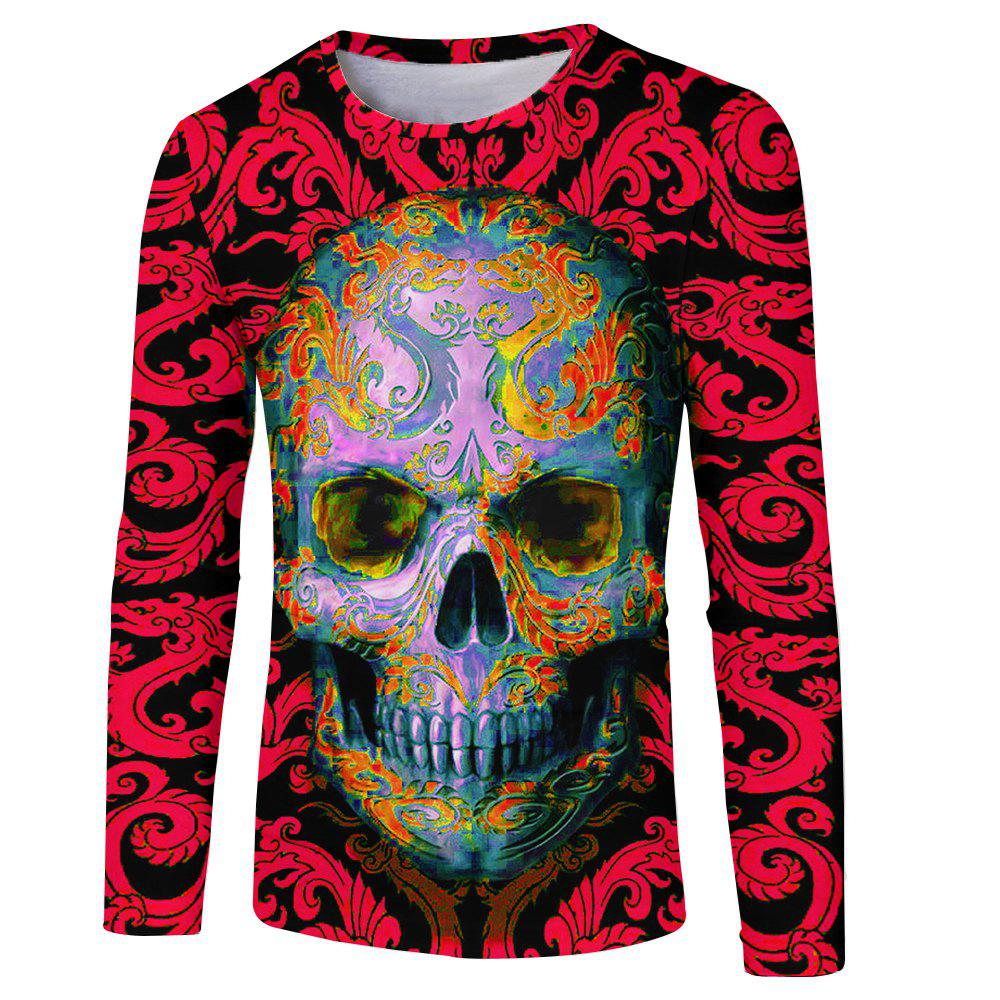 Discount Men's Fashion New 3D Personality Skull Print Long-sleeved T-shirt