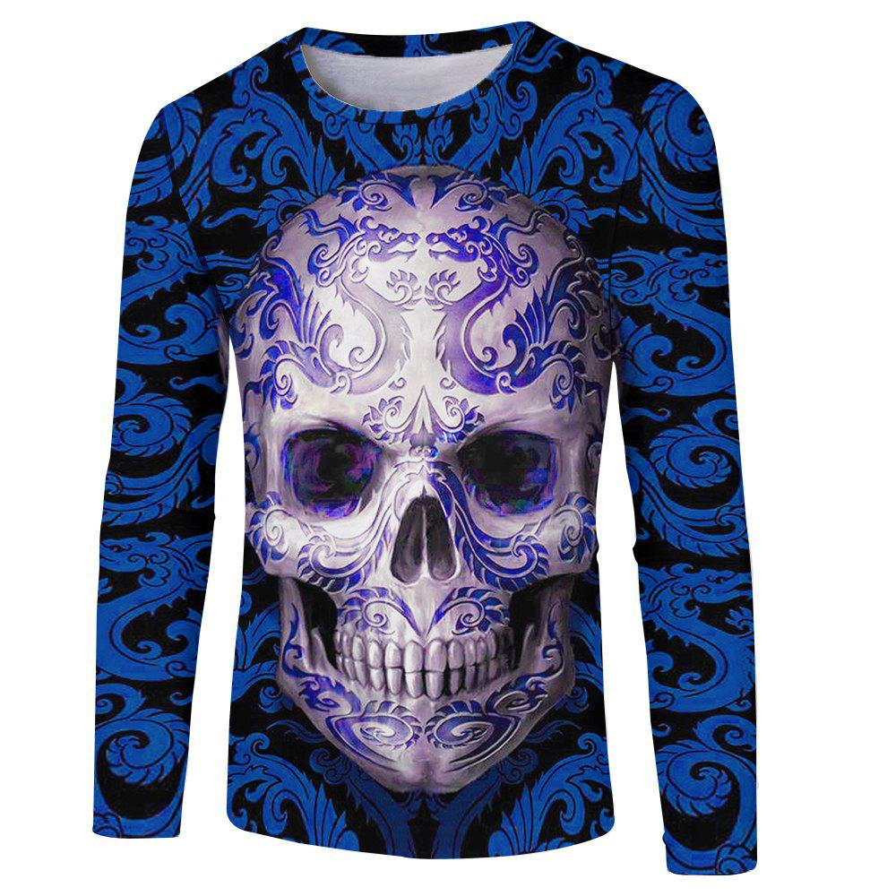 Buy Men's Fashion New 3D Personality Skull Print Long-sleeved T-shirt
