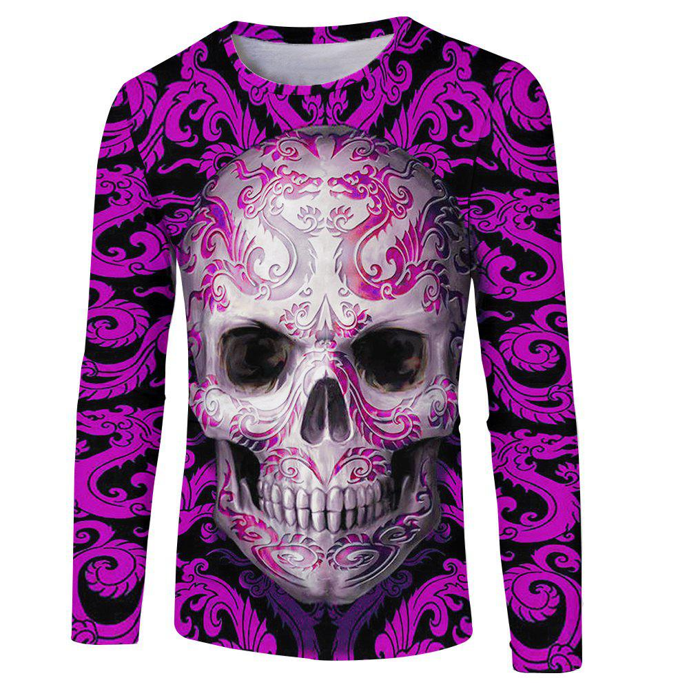 Sale Men's Fashion New 3D Personality Skull Print Long-sleeved T-shirt
