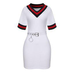 Women's V-neck Short Sleeve Color Block Sheath Mini Dress with Belt -