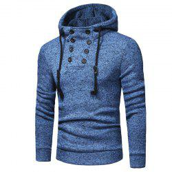 Men's Fashion Double-breasted Cap Rope Long Sleeve Slim Knit Hoodie -
