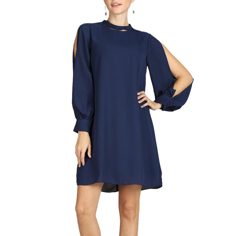Trendy S Betro Necklace Collar Open Shoulder Long Sleeve A Line Dress Above Knee