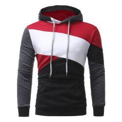 Men's Casual Slim Personality Multicolor Stitching Hooded Pullover Sweater -