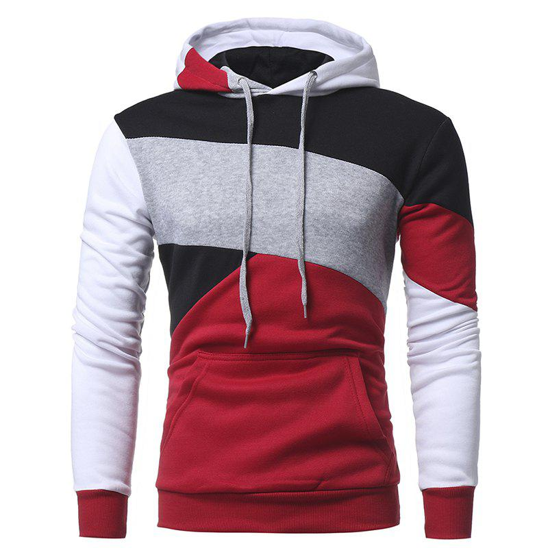 Shop Men's Casual Slim Personality Multicolor Stitching Hooded Pullover Sweater