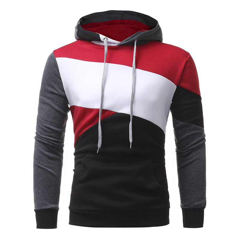Fancy Men's Casual Slim Personality Multicolor Stitching Hooded Pullover Sweater