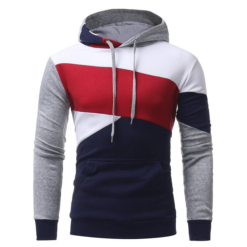 Best Men's Casual Slim Personality Multicolor Stitching Hooded Pullover Sweater