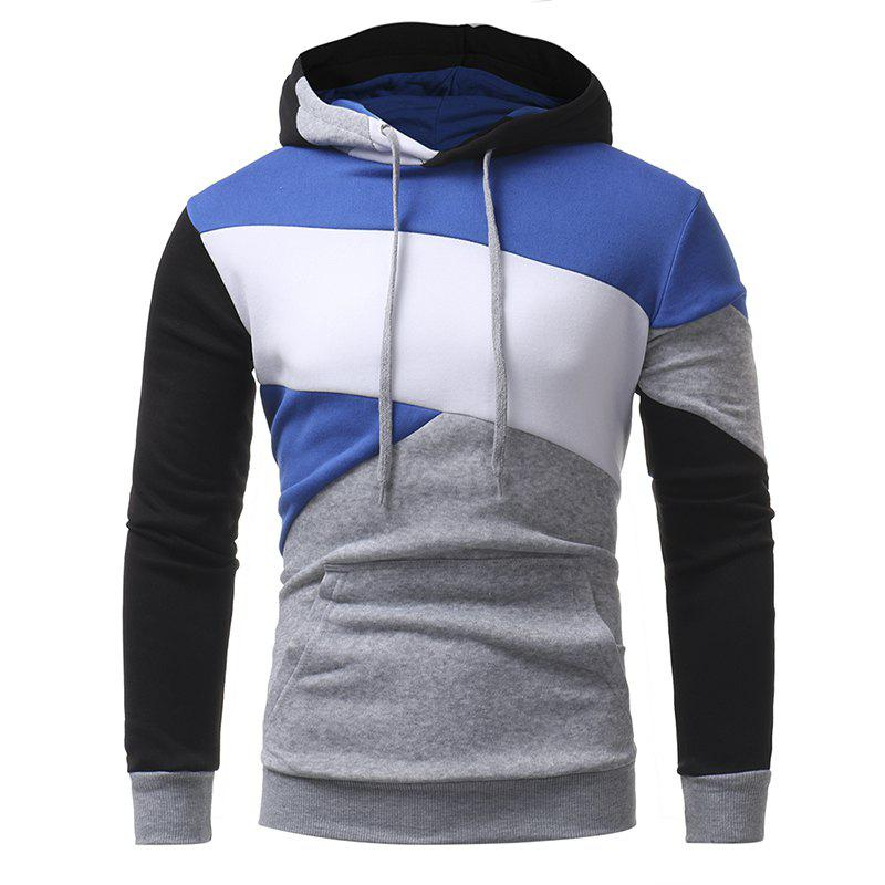 Latest Men's Casual Slim Personality Multicolor Stitching Hooded Pullover Sweater