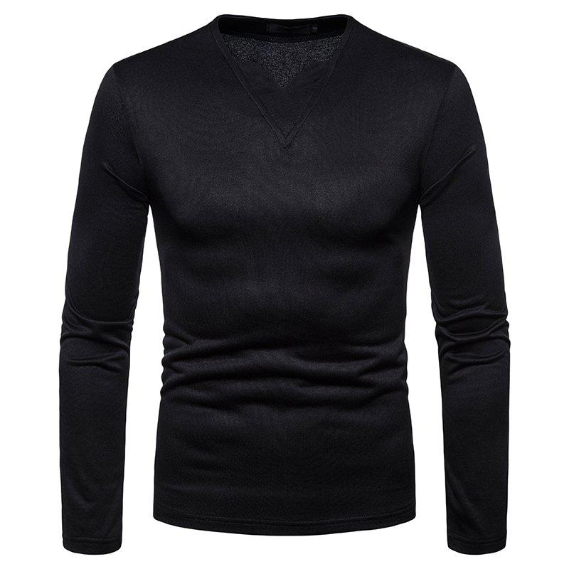 Discount Men's Fashion Casual Warm V-Neck Long-Sleeved T-Shirt