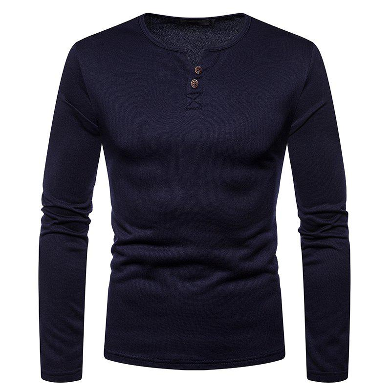 New Men's Casual Large Size Warm Fashion Long-Sleeved T-Shirt