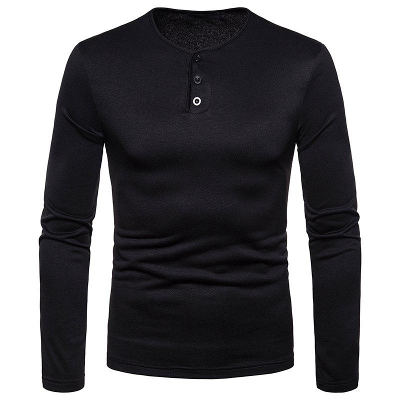 Trendy Men's Large Size Warm Casual Long-Sleeved T-Shirt Bottoming Shirt