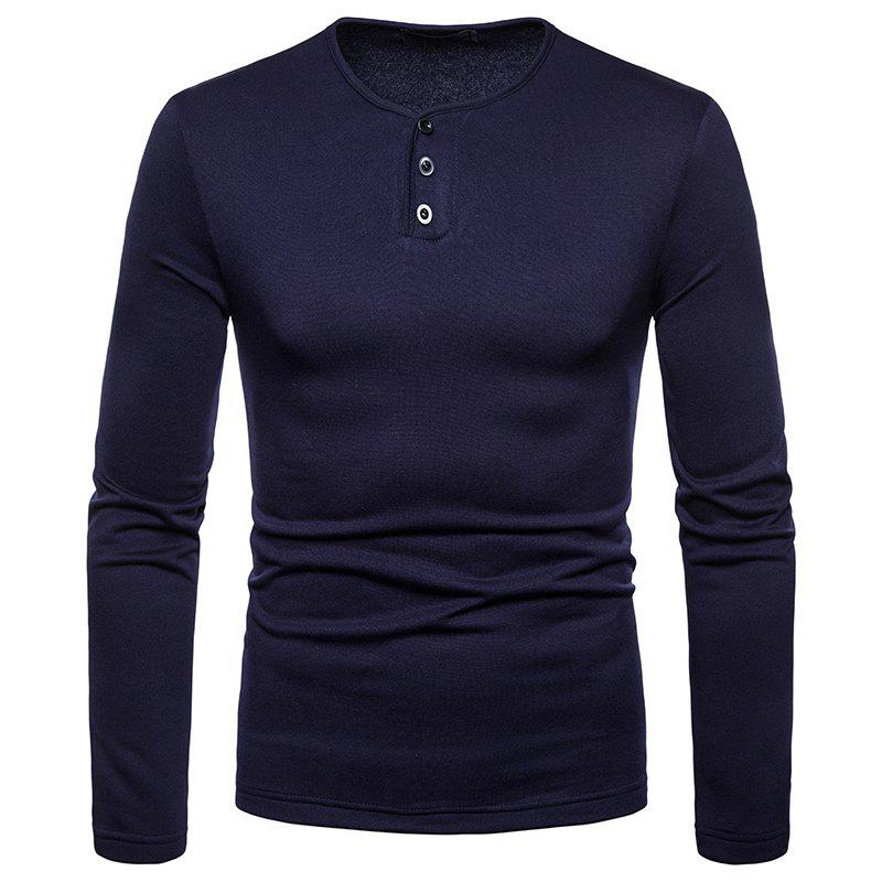 Fancy Men's Large Size Warm Casual Long-Sleeved T-Shirt Bottoming Shirt