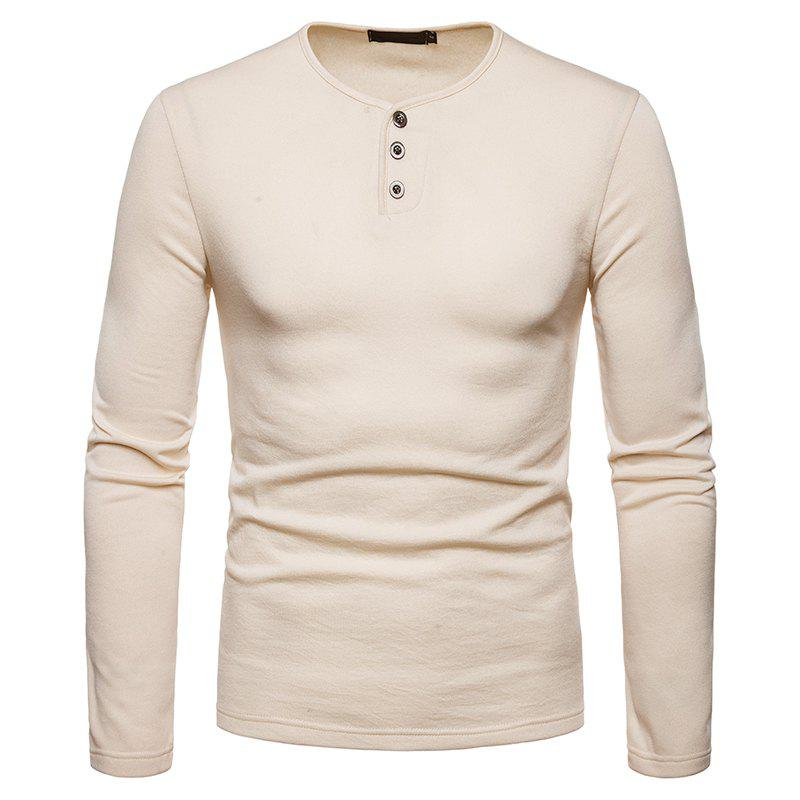 Discount Men's Large Size Warm Casual Long-Sleeved T-Shirt Bottoming Shirt