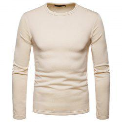Men's Fashion Casual Large Size Warm Round Neck Slim Long-Sleeved T-Shirt -