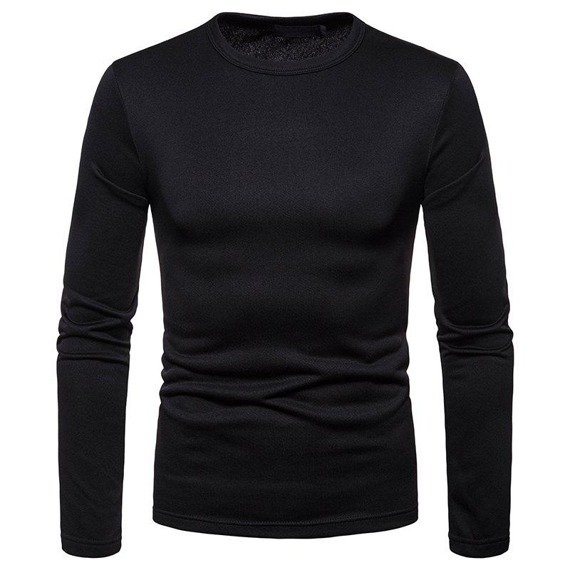Outfit Men's Fashion Casual Large Size Warm Round Neck Slim Long-Sleeved T-Shirt