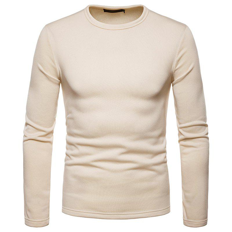 Fancy Men's Fashion Casual Large Size Warm Round Neck Slim Long-Sleeved T-Shirt