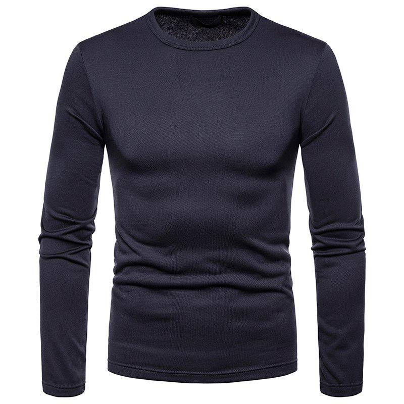 Cheap Men's Fashion Casual Large Size Warm Round Neck Slim Long-Sleeved T-Shirt