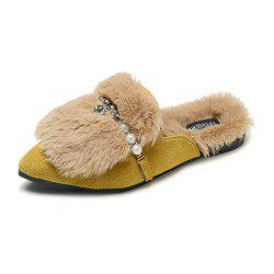 Fashionable Fur Flat Bottomed Pointed Slippers -