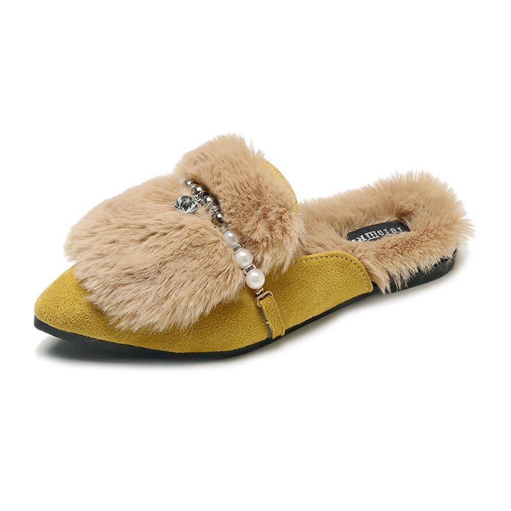 Outfits Fashionable Fur Flat Bottomed Pointed Slippers