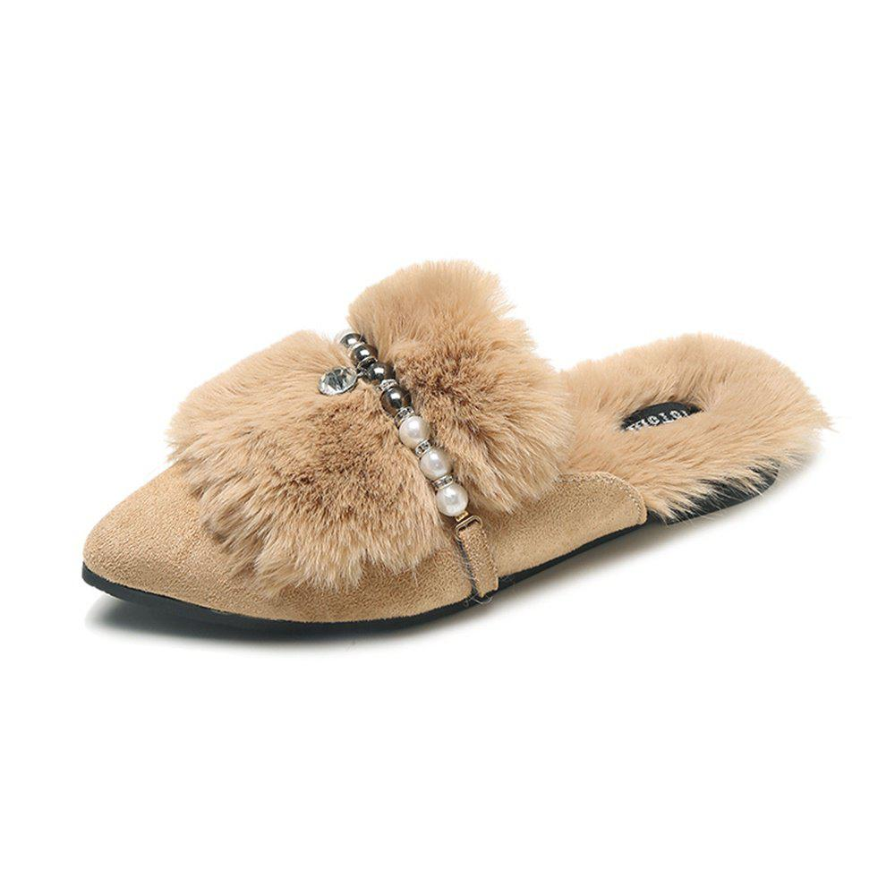 Sale Fashionable Fur Flat Bottomed Pointed Slippers