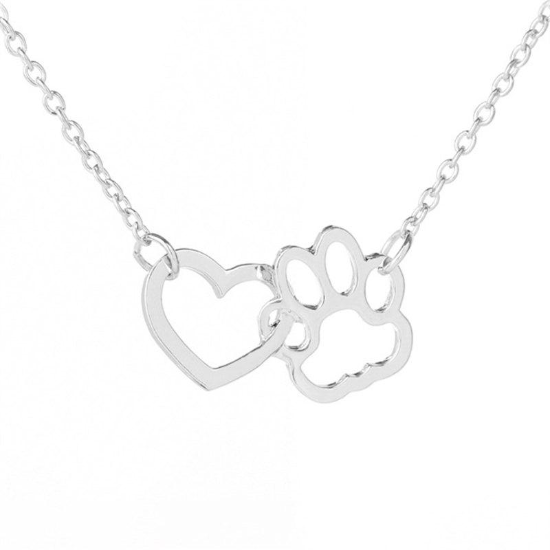 Affordable Dog Claw Heart Type Alloy Short Pendant Necklace