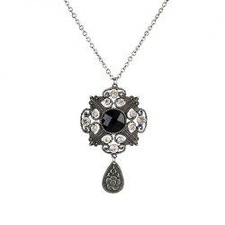 Fashion Hollow-out Gemstone Flower Pendant Necklace -