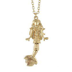 Fashion Metal Chain with Mermaid-shaped Pendant Necklace -