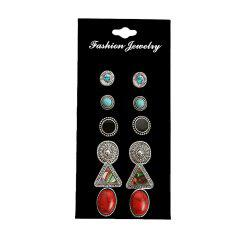 6 Pair Shell and Pine Stones Ear Studs -