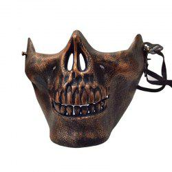 Halloween Horror Half Chin Plastic Face Shield Human Skull Mask -