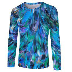 Fashion Classic Men's 3D Trend Digital Print Long-sleeved T-shirt -