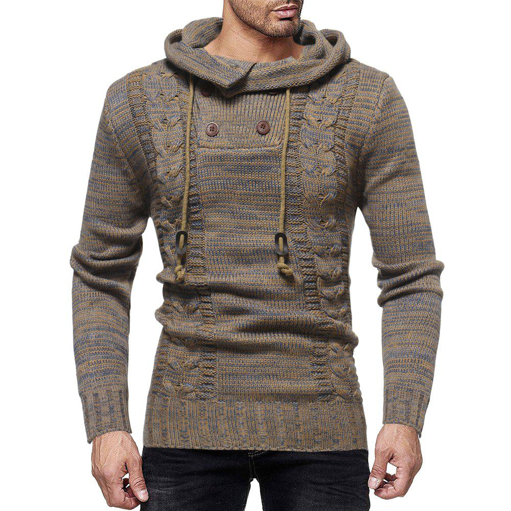 80d24f2074 Store Men s Color Matching Personality Twist Double-breasted Slim Hooded Knit  Sweater