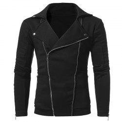 New Personality Double Pull Zipper Men's Casual Slim Sweater Coat -