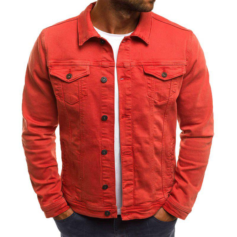 Casual Denim Jacket Short paragraphe Slim couleur unie hommes Orange L